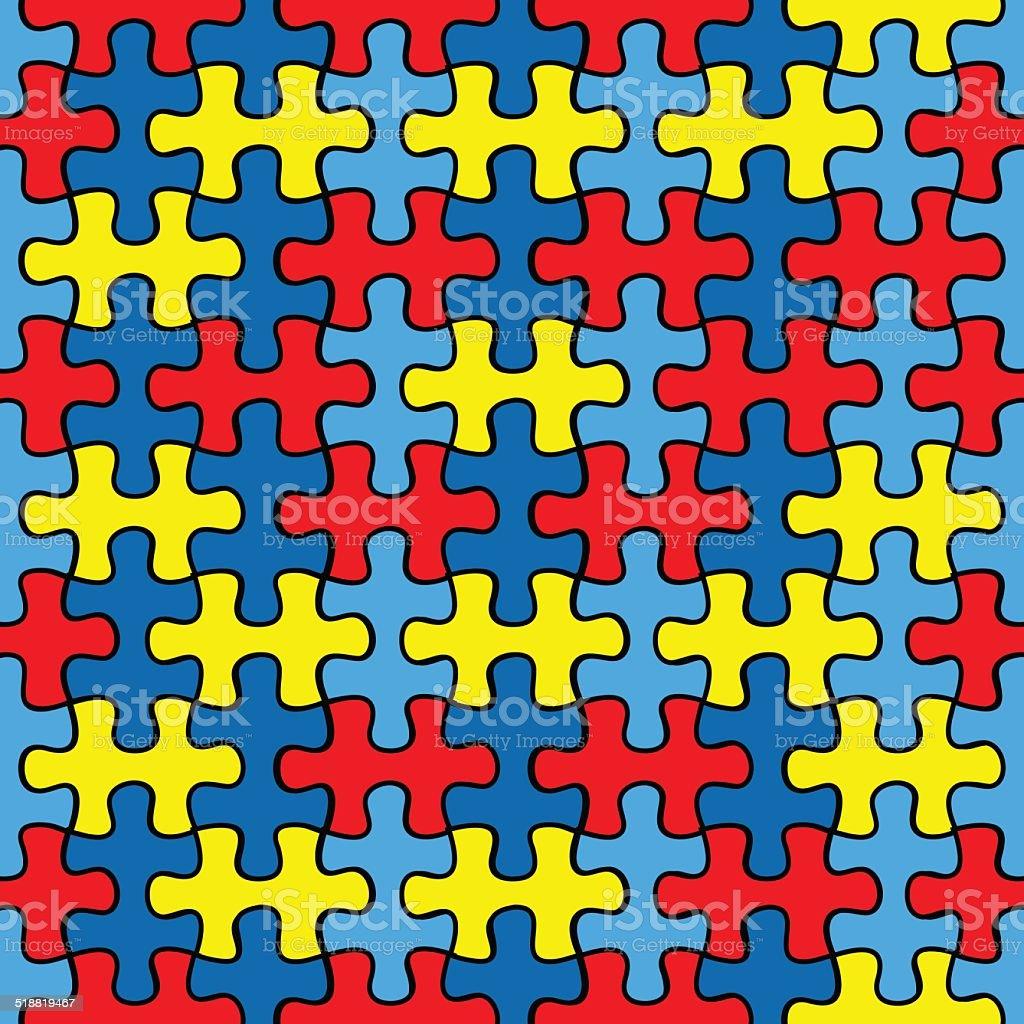 Autism Awareness puzzle seamless pattern vector art illustration