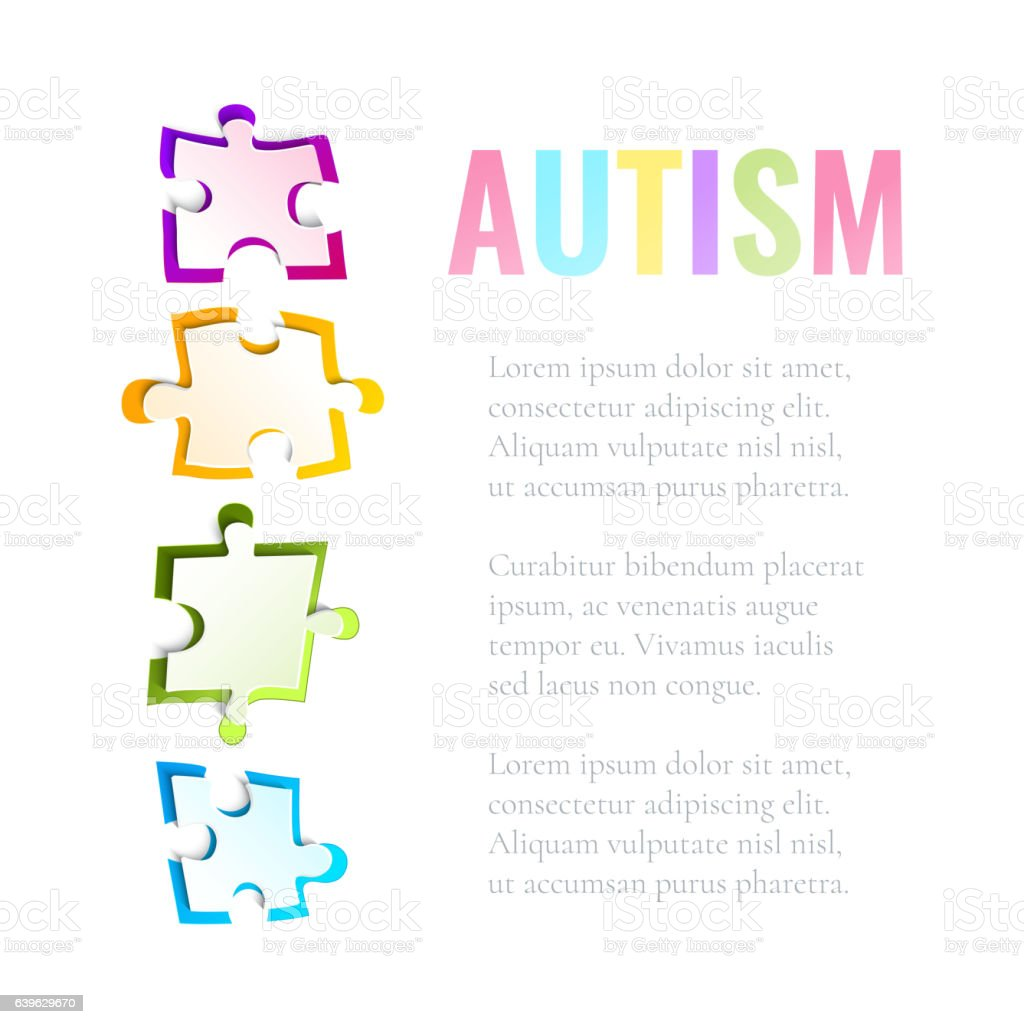 Autism awareness puzzle template vector art illustration