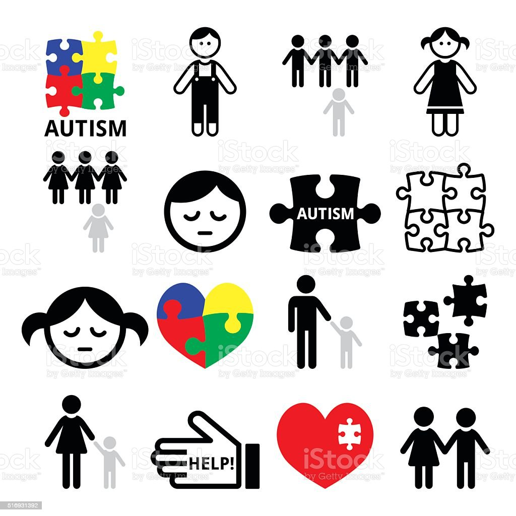 Da Consciencialização do Autismo quebra-cabeças, autista crianças ícones - ilustração de arte em vetor