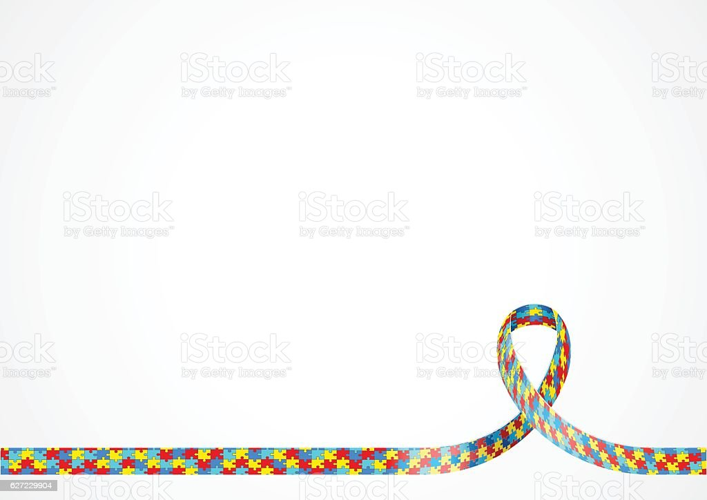 Autism Awareness Ribbon Background - ilustração de arte em vetor