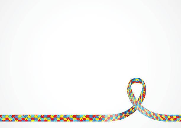 Autism Awareness Ribbon Background vector art illustration