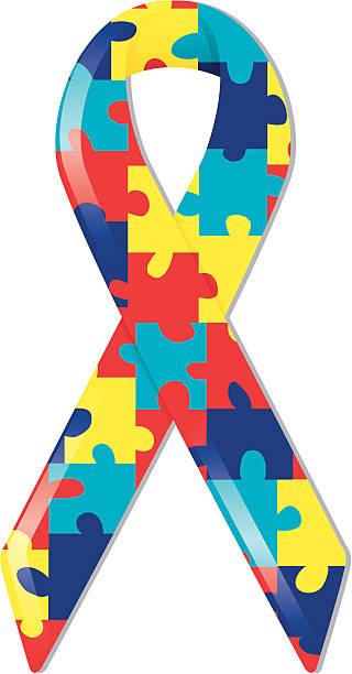 Autism Awareness Ribbon vector art illustration