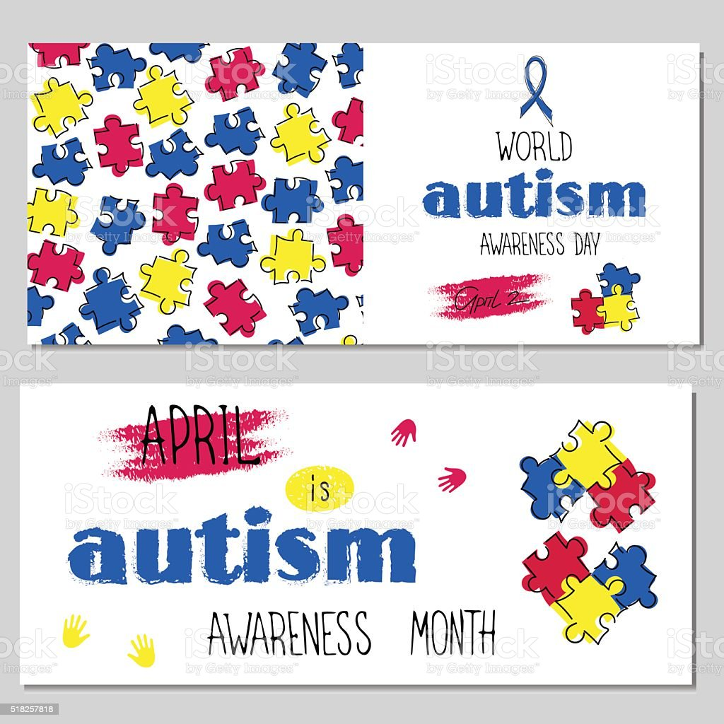 Autism awareness set of banners vector art illustration
