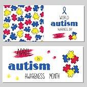 Autism awareness set of banners