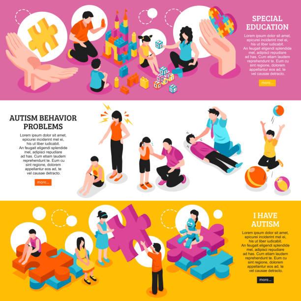ilustraciones, imágenes clip art, dibujos animados e iconos de stock de estandartes autista - autism