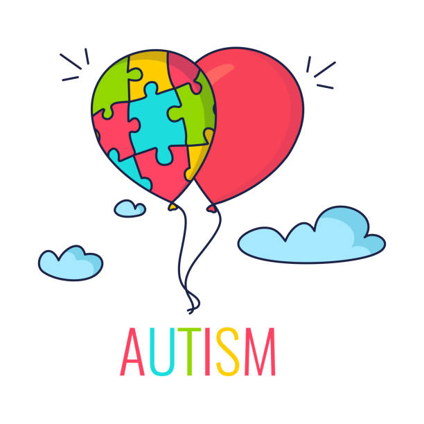 Autism concept with balloons vector art illustration