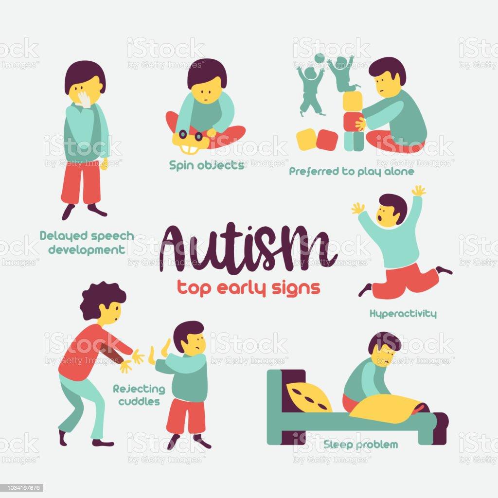 d7c58418a95212 Vroege tekens van autisme syndroom bij kinderen. Vectorillustratie. royalty  free autisme vroege