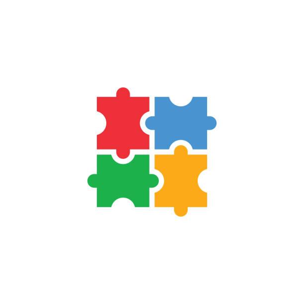 ilustraciones, imágenes clip art, dibujos animados e iconos de stock de ilustración aislada del vector de plantilla de diseño de icono autista - autism