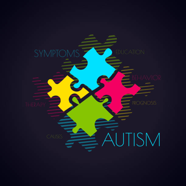 Autism puzzle and word cloud poster vector art illustration