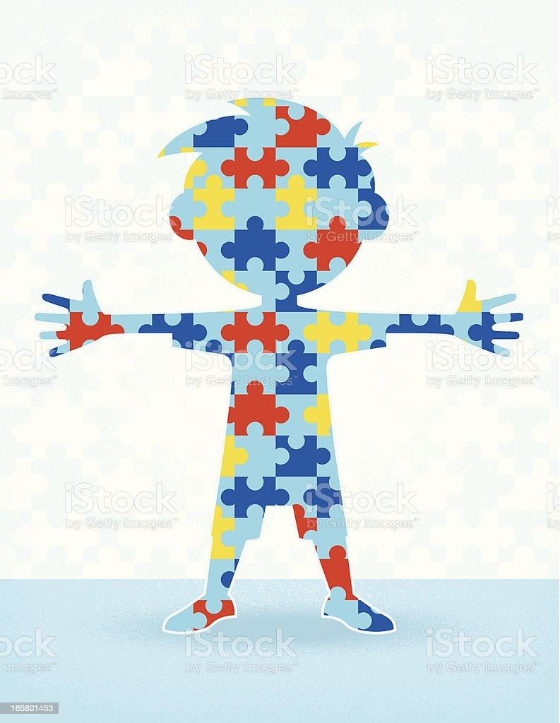 Autismo quebra-cabeça menino - ilustração de arte em vetor