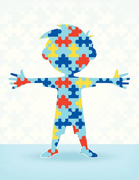 Autism Puzzle Boy vector art illustration