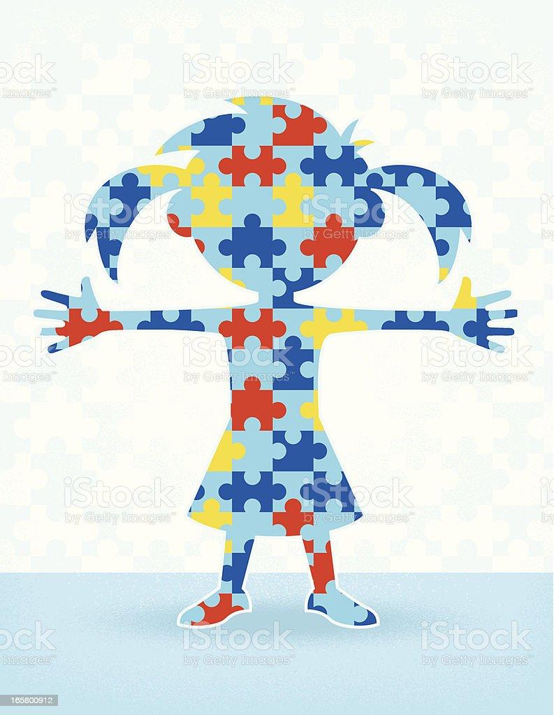Autism Puzzle Girl vector art illustration