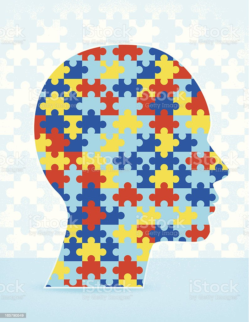 Autism Puzzle Head vector art illustration