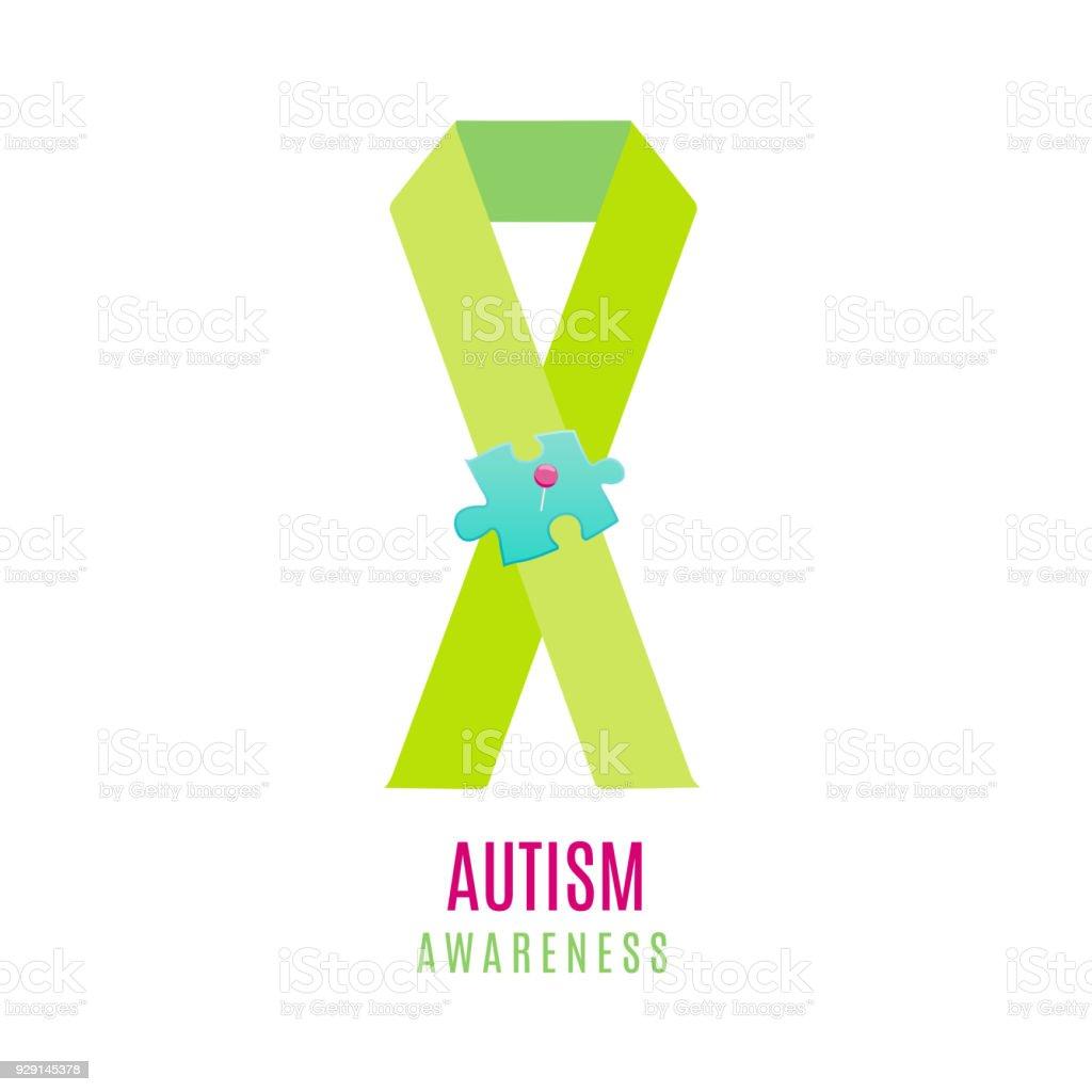 Autism puzzle heart poster векторная иллюстрация