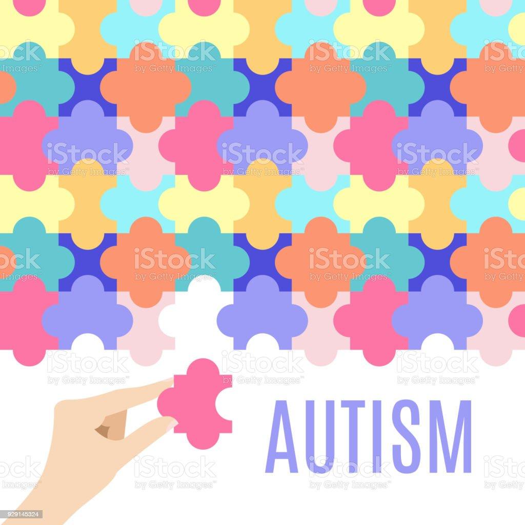 Autism puzzle poster векторная иллюстрация