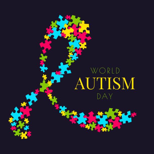 Autism puzzle poster vector art illustration