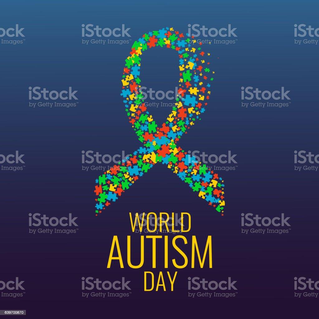 Autism ribbon awareness poster - ilustração de arte em vetor