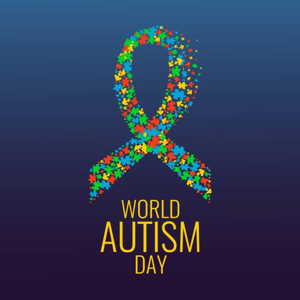 Autism ribbon awareness poster vector art illustration