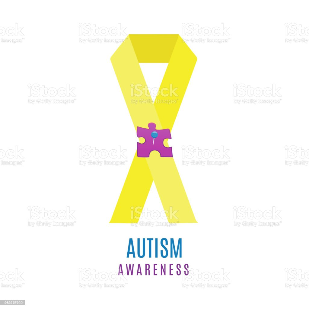 Autism ribbon poster with pinned puzzle векторная иллюстрация