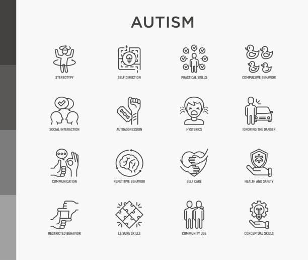 ilustraciones, imágenes clip art, dibujos animados e iconos de stock de síntomas de autismo y habilidades adaptativas iconos de línea delgada establecidos: comportamiento repetitivo, estereotipa, ignorando el peligro, autoagresión, histeria, comunicación, interacción social. ilustración vectorial moderna. - autism