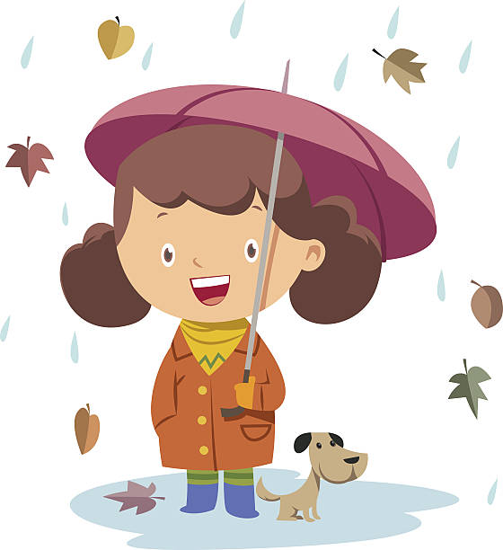 autmn autmn and little girlautmn and little girl - kids playing in rain stock illustrations, clip art, cartoons, & icons