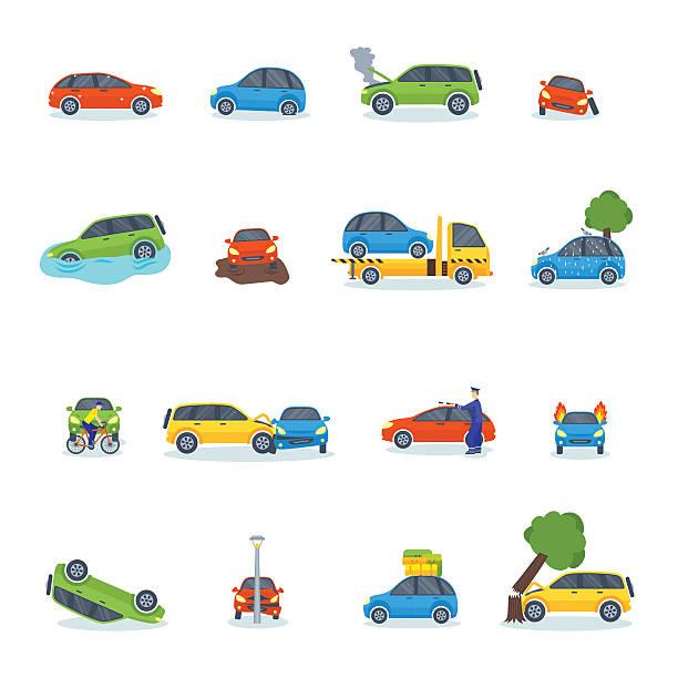 bildbanksillustrationer, clip art samt tecknat material och ikoner med auto accident involving car crash city street vector illustration - krockad bil