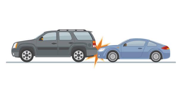bildbanksillustrationer, clip art samt tecknat material och ikoner med auto olycka med två bilar, isolerad på vit bakgrund. - krockad bil