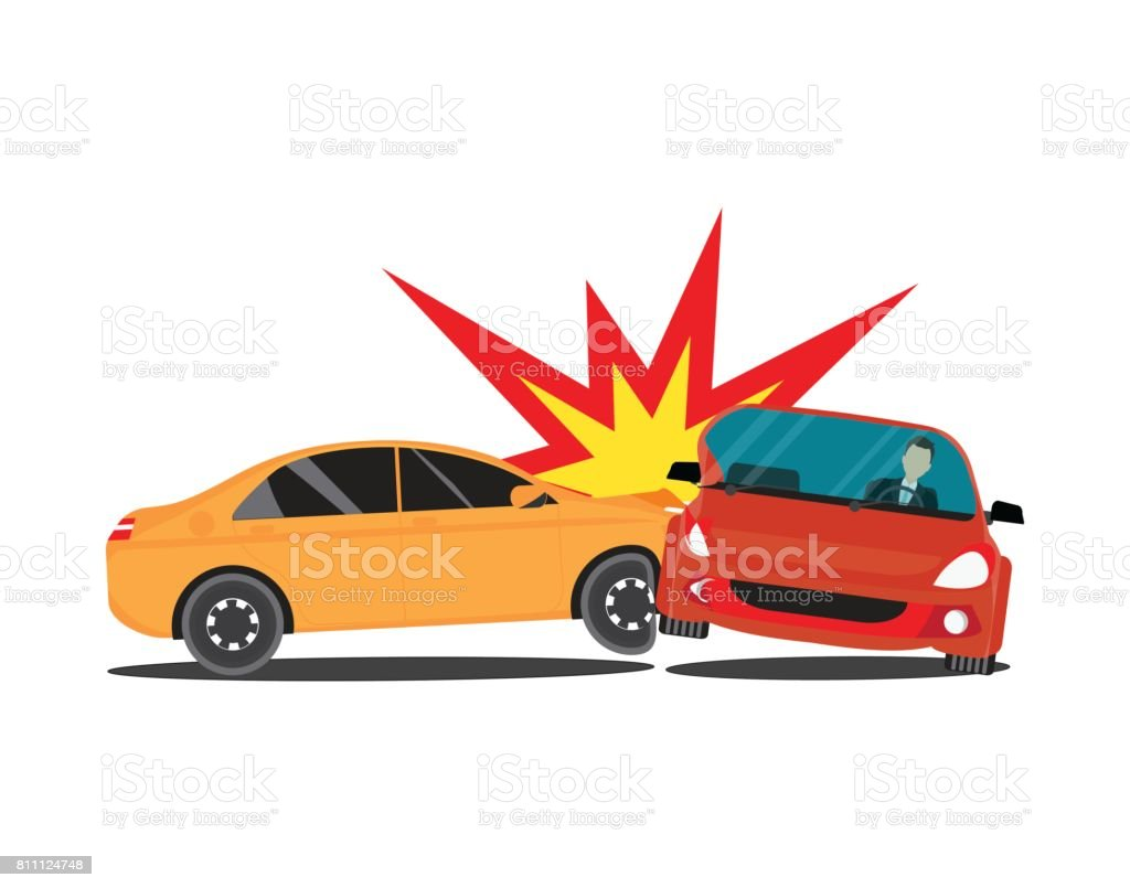 Accidente con dos coches. - ilustración de arte vectorial