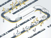 Auto Assembly Line Illustration