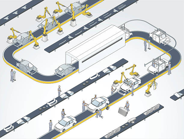 stockillustraties, clipart, cartoons en iconen met auto assembly line illustration - manufacturing