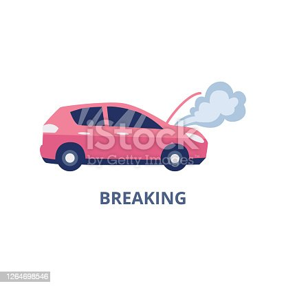 Symbol of auto breaking case of car insurance policy, flat vector illustration isolated on white background. Ð¡overing the cost of repairing broken car with insurance.