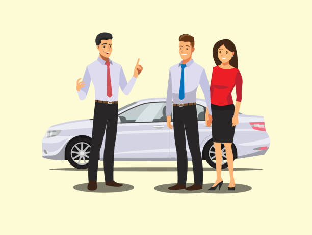 auto business, car sale, deal,  dealer giving key to new owner and shaking hands  ,Vector illustration auto business, car sale, deal,  dealer giving key to new owner and shaking hands  ,Vector illustration car salesperson stock illustrations