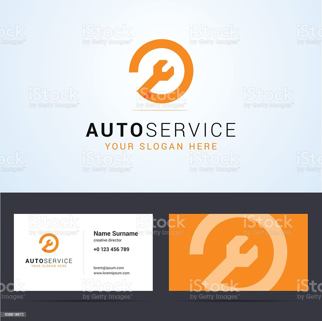 Auto, car service business card template vector art illustration