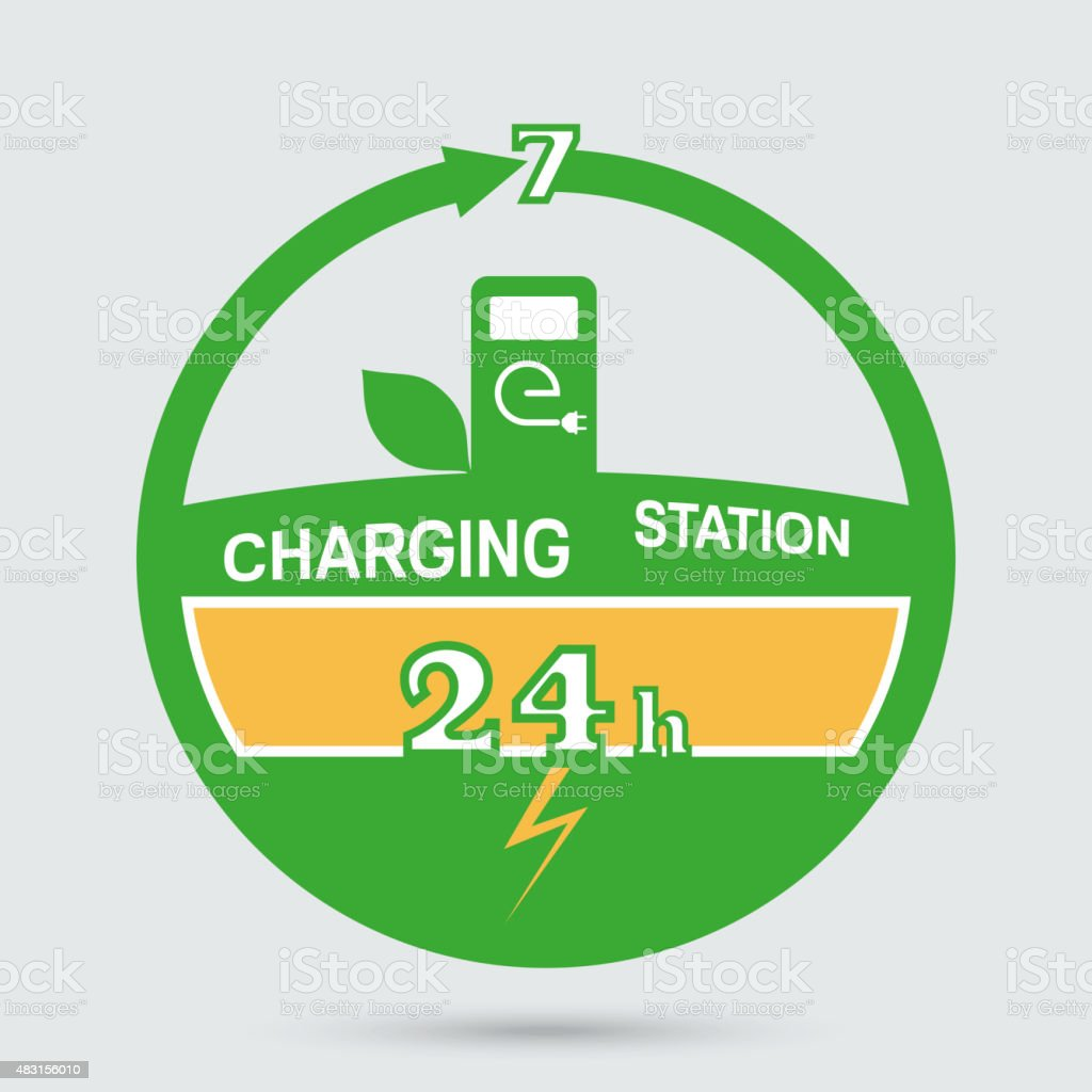 Auto charging station emblem vector art illustration