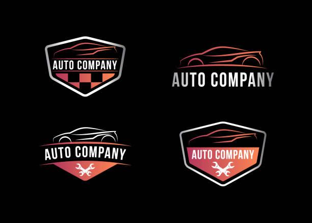 stockillustraties, clipart, cartoons en iconen met auto bedrijfslogo, vectorillustratie - motorvoertuig
