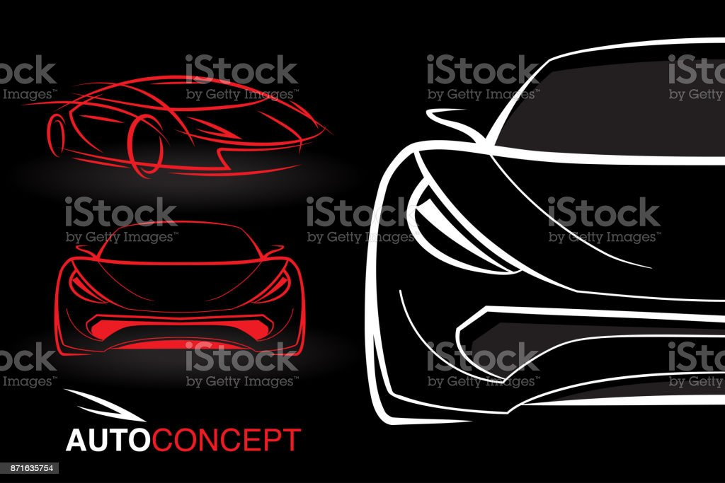 Auto Concept Vehicle Designs With Model Style Sketch Sports Cars  Royalty Free Auto Concept Vehicle