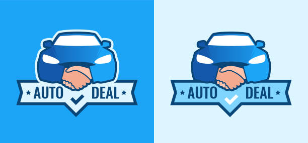 Auto Deal - Logo for car Dealership. Front view of Car with Handshakes - Creative Emblem Auto Deal - Logo for car Dealership. Front view of Car with Handshakes - Creative Emblem. Set of blue vector Symbols on blue and white background. car salesperson stock illustrations
