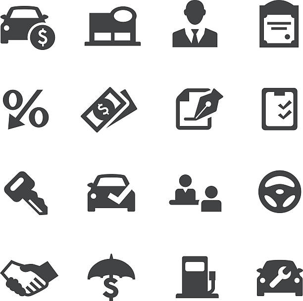 Auto Dealership Icons - Acme Series See Others: test drive stock illustrations