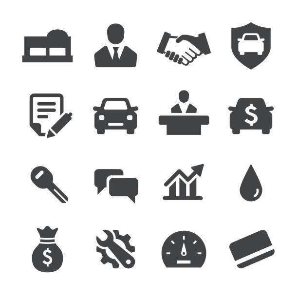 Auto Dealership Icons - Acme Series Auto Dealership Icons lease agreement stock illustrations