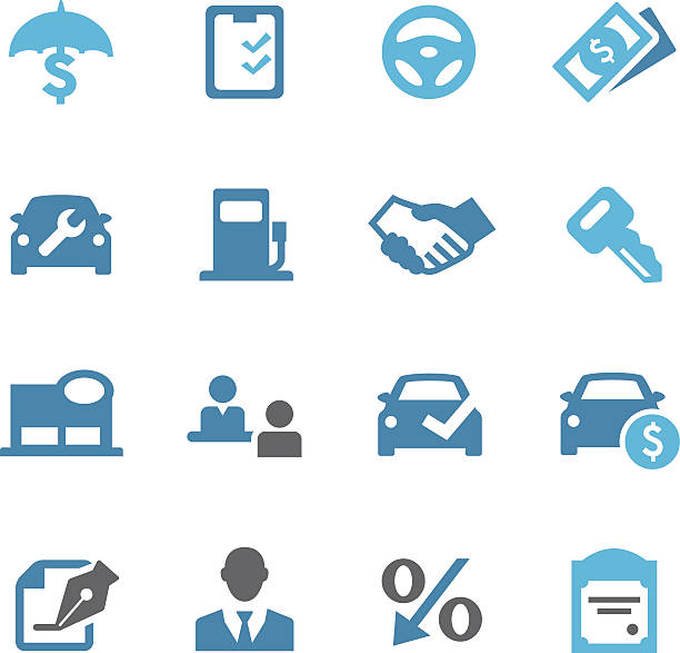 auto dealership icons - conc series - retail worker stock illustrations