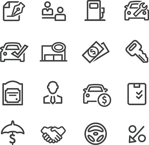 Auto Dealership Icons - Line Series View All: test drive stock illustrations