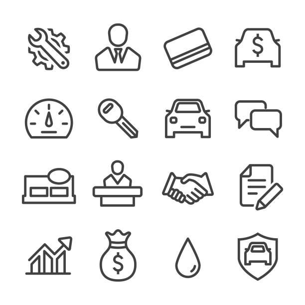 Auto Dealership Icons Set - Line Series Auto Dealership, car dealership, sale, car, land vehicle, test drive, service, lease agreement stock illustrations