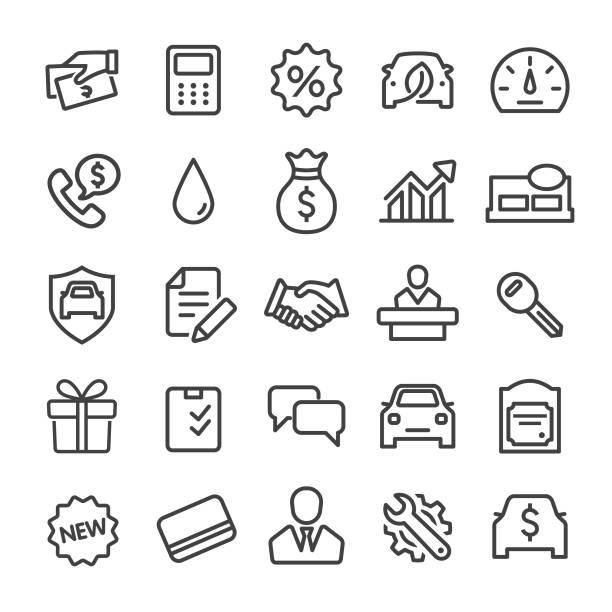Auto Dealership Icons Set - Smart Line Series Auto Dealership, automobile industry stock illustrations