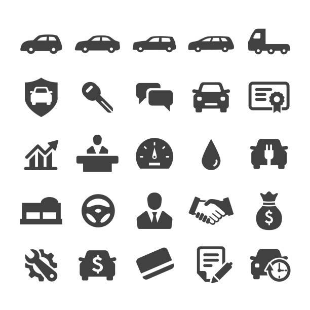 Auto Dealership Icons Set - Smart Series Auto Dealership, car dealership, car, car salesperson lease agreement stock illustrations