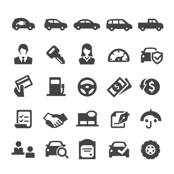 Auto Dealership Icons - Smart Series Auto Dealership Icons automobile industry stock illustrations