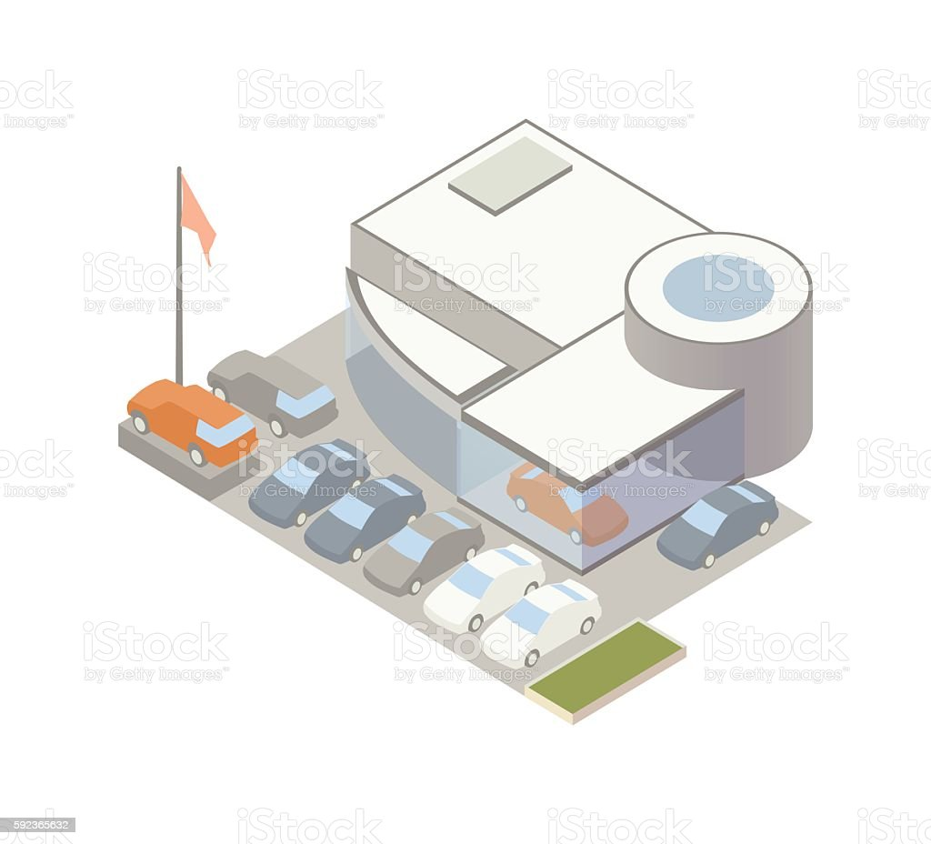 Auto dealership illustration vector art illustration