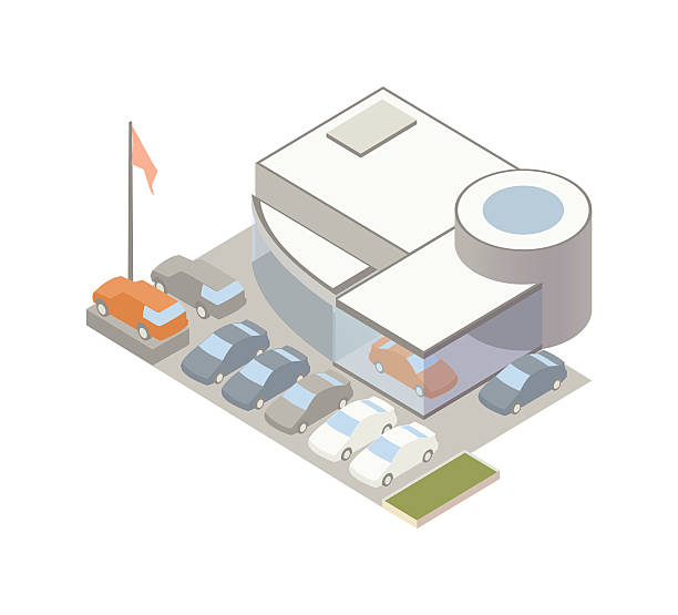 Auto dealership illustration Modern car dealership has 8 cars in the lot and at least one in the showroom. Building is seen from an aerial isometric perspective. Illustration will include high quality jpeg and vector eps files. car salesperson stock illustrations