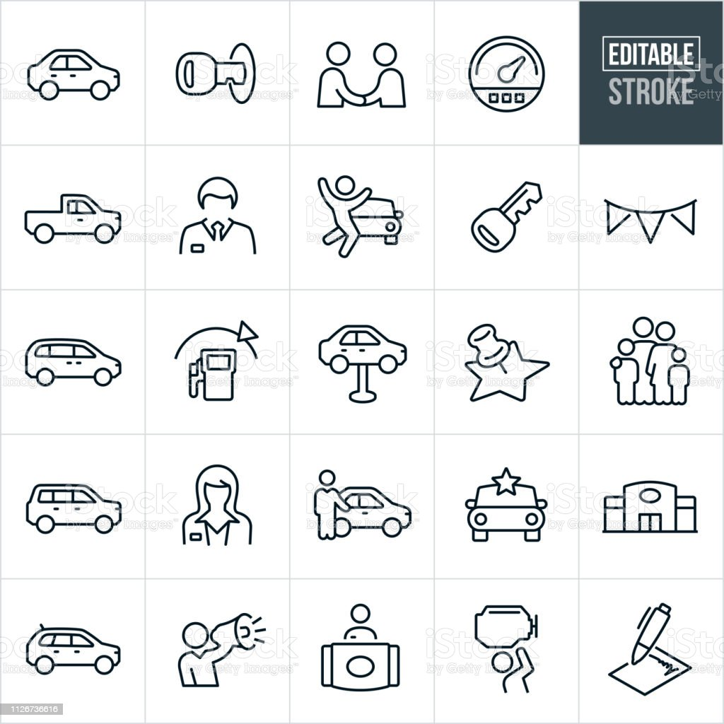 Auto Dealership Thin Line Icons - Editable Stroke A set auto dealership icons that include editable strokes or outlines using the EPS vector file. The icons include an auto dealer, car salesman, auto dealership, car, truck, van, SUV, crossover, car key, speedometer, man, woman, customer, salesperson, repair, new car, receptionist and contract to name a few. Car stock vector