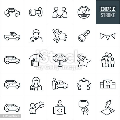 A set auto dealership icons that include editable strokes or outlines using the EPS vector file. The icons include an auto dealer, car salesman, auto dealership, car, truck, van, SUV, crossover, car key, speedometer, man, woman, customer, salesperson, repair, new car, receptionist and contract to name a few.