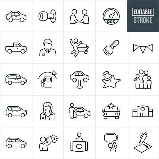 illustrazioni stock, clip art, cartoni animati e icone di tendenza di icone linea sottile concessionaria automatica - tratto modificabile - auto
